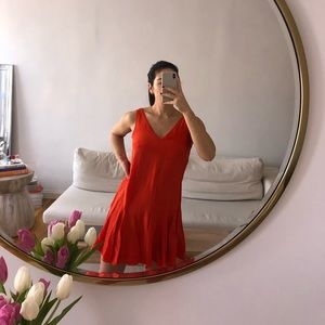 Club Monaco orange silk dress